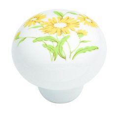 Hickory Hardware English Cozy Yellow Flower Knob - Soft yellow, daisy flowers; 1 3/8-inch.