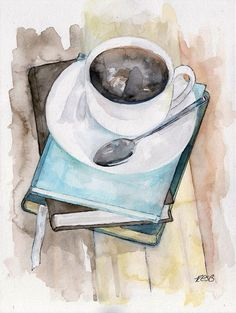 "Coffee Mug Painting Original Watercolor Print ""Relax"" Kitchen Decor Coffee Cup Books Coffee Art Art Inspo, Inspiration Art, Painting Prints, Painting & Drawing, Family Painting, Painting Lessons, Painting Canvas, Art Prints, Creation Art"