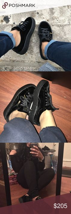 Rihanna Creepers. Size 9, 100% AUTHENTIC! i got these for christmas last year and they are the velvet ones when they first dropped last year. my dad brought them from lady footlocker! i usually am around a size 8.5 & these for great. only wore a total of 3 times. sold out Puma Shoes Sneakers