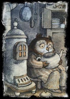 Owl making teardrop tea.