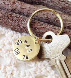 Custom Anniversary Date Stamped Brass Key Ring | Commit the date to memory with this custom anniversary date ke... | Keychains