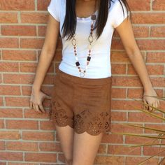 "$9 SaleFaux Suede Laser Cut Scallop Shorts ▪️️Cute faux suede laser cut scallop shorts  ▪️100% Rayon  ▪️Made in U.S.A  ▪️❗️️️️️Discounts on bundles, otherwise price is firm❗️  ▪️❌No offers/trades/PP❌  ▪️ 2S-1M Available---Small fits like 0/2, Medium fits like 2/4"" Model is a 2, wearing the medium. Southern Bellatique Shorts"