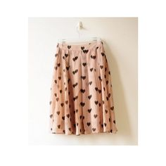 Sweet Beige Dot Pleated Chiffon Romantic Skirt ($55) ❤ liked on Polyvore