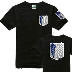 Black Anime Attack On Titan Investigation Corps Clothing Costume T-shirt Cosplay