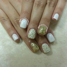 White and gold nails. Chevron nails. #PreciousPhanNails