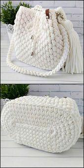 50 Versatile And Unique Free Crochet Patterns - Crochet market bag free pattern - 50 Versatile And Unique Free Crochet Patterns Snow White Bag Free Crochet Pattern Free Crochet Bag, Crochet Market Bag, Crochet Gifts, Knit Crochet, Crochet Bags, Diy Crochet Purse, Crochet Backpack Pattern, Beaded Crochet, Tunisian Crochet