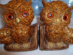 Owl Book Ends Ceramic Retro