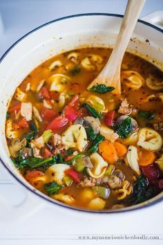 Here is a wonderful Hearty Tortellini Soup recipe!  Packed with veggetables and sausage!  |  http://mynameissnickerdoodle.com