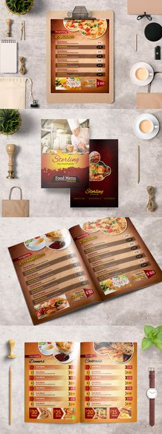 TriFold Food Menu Design Template Psd A  Food Menu Templates