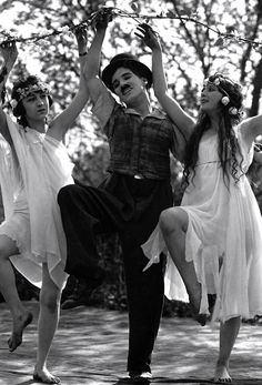 Charlie and the Nymphs in Sunnyside c.1919. Copyright; Roy Export co. #Chaplin