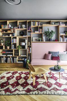 Bookshelves and built-in sofa