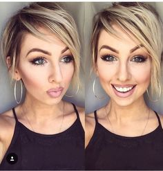 Blonde smudged root  Ash Icey short hair cut