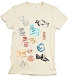 Passport graphic t-shirt for the traveler who's been everywhere. It would be cool to customize a t-shirt like this with passport stamps from countries the person has been to!