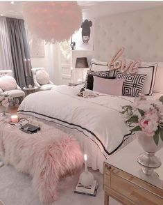 Selecting the right home decorative items can make your dream of a beautiful home come true. With endless choices available in home accessories, you need to have a plan before you set out decorating your home. Glam Bedroom, Room Design Bedroom, Girl Bedroom Designs, Modern Bedroom, Cute Bedroom Ideas, Room Ideas Bedroom, Bedroom Decor, Teen Bedroom Furniture, Bedroom Signs