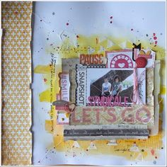 Asokascrapper - Scrapbooking page - White background - Gesso - Modeling paste - Gelatos