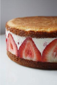 Strawberry mascarpone ice cream cake