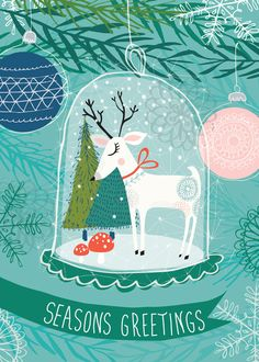 Super cute illustration of a reindeer snowglobe ornament.