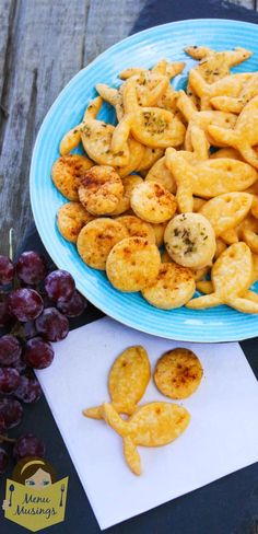 Homemade Cheesy Goldfish Snack Crackers - Only 5 simple ingredients.  Let your imagination run wild and sprinkle with spices and herbs for extra flavors!  Step-by-step photos.  Great for snack helper days, Sunday school groups, or just for fun! <3