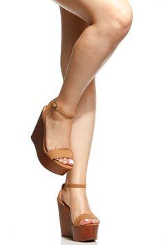 83da5e19aa5a64 Tan Faux Nubuck Wooden Platform Wedges   Cicihot Wedges Shoes Store Wedge  Shoes