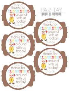 Free printable circus birthday party favor tags, attach to a box of animal…