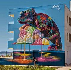 """Artist new huge nature in Street Art mural in Ayia Napa, Cyprus Urban Street Art, 3d Street Art, Amazing Street Art, Street Artists, Murals Street Art, Mural Art, Street Art Graffiti, Art And Illustration, Illustrations"