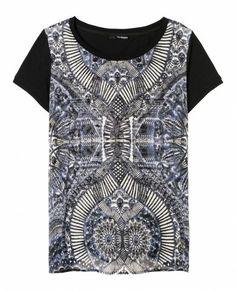 """T-shirt à empiècement en soie et à imprimé """"Kaleidoscope"""" - T-shirt & Polo - Femme - The Kooples"""