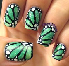 Ideas Pedicure Designs Green Nailart For 2019 Dragonfly Nail Art, Butterfly Nail Art, Dragonfly Wings, Butterfly Wings, Cute Nail Art, Nail Art Diy, Cute Nails, Diy Nails, Pretty Nails