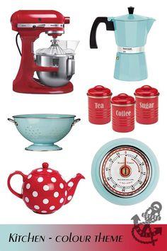 Retro Blue & Postbox Red Kitchen – theme home decor - Kitchen Decor Themes