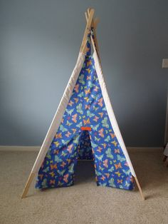 Beautiful Butterfly Print Tepee  Blue Sleeves (Children's Tent)