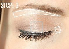 Makeup for Small Eyes: 1) apply nude shimmer eyeshadow over entire lid. 2) apply a dark shade  to outside corner of eye to achieve a smokey look without making eyes appear smaller. 3) apply highlighter to brow bone, center of eyelid and inner corner of eye to make eyes appear larger and brighter.