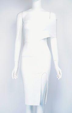 Lorenza White One Shoulder Bandage Dress