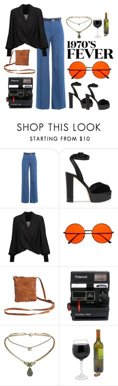 """70's fever"" by nicolekiddzoo ❤ liked on Polyvore featuring Marc Jacobs, Giuseppe Zanotti, Alice + Olivia, INDIE HAIR, Pieces, Polaroid and Topshop"