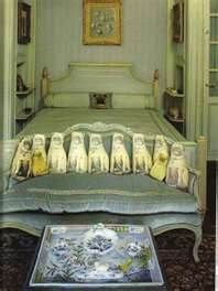the duke and duchess of windsor's bedroom, via sotheby's catlogue - Bing Images. I worked at sothebys when this crazy sale was going on. love the pug pillows they sold for an astronomical amount!