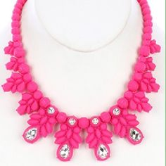 Faceted glass stone faux rubber bib necklace Crystal stone 16 inch long, 1 3/4 inch drop. Jewelry Necklaces