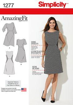 Simplicity Pattern 1277AA 10-12-14-1-Misses Dress