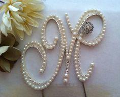 Pearl Cake Topper Monogram Wedding Cake by ShellCoastalDesigns