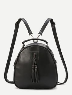 Shop Black Faux Leather Tassel Embellished Mini Dome Backpack online. SheIn offers Black Faux Leather Tassel Embellished Mini Dome Backpack & more to fit your fashionable needs.