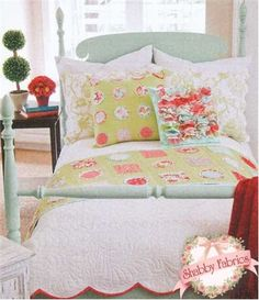 """Dots and Charms Bed Runner and Pillows: Create two pillows and a bed runner with this pattern!  Add some class to your bed with the Dot Pillow (20"""" x 20""""), the Charm Square Pillow (16"""" x 16"""") and the Bed Runner (22"""" x 76"""").  Each project uses charm squares!"""