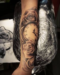 "92 Likes, 6 Comments - Joel Blixt (@blixt_tattoo) on Instagram: ""Pocket watch and roses done today. Thanks Michelle! #roses #blackandgrey #pocketwatchtattoo…"""