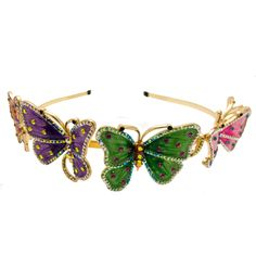 Butler & Wilson 5 Butterflies Crystal Headband featuring enamel and Swarovski crystal. Butler & Wilson, Crystal Headband, Butterfly Hair, Dragon Flies, Hair Ornaments, Hat Pins, Crystal Jewelry, Costume Jewelry, Swarovski Crystals