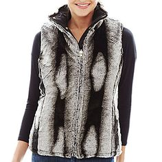 jcp | KC Collections Quilted Reversible Faux-Fur Vest