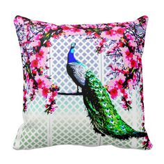 http://www.zazzle.com.au/peacock_cherry_blossoms_and_lattice-189784428354453050?rf=238523064604734277 Peacock Cherry Blossoms And Lattice - This throw pillow cushion features a peacock perching on a cherry blossom branch in front of a lattice wall. The the other side has a seamless peacock, cherry blossom and lattice pattern.