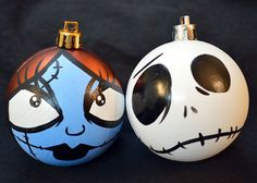 Nightmare Before Christmas Jack and Sally Ornament Set - Holiday Decorations
