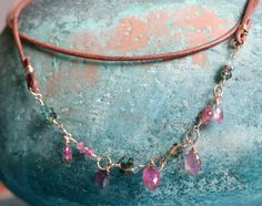 Watermelon Tourmaline Marquise Necklace on Brown by Tahirih, $130.00
