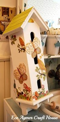 Use stencil designs for your birdhouse and then cover with a clear coat