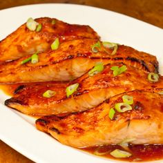 Broiled Salmon with Thai Sweet Chili Glaze Recipe Main Dishes with salmon, sweet chili sauce, soy sauce, fresh ginger, scallions