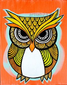 Owl Design Painting Art Print orange indian by Tribal Pattern Art, Tribal Art, Madhubani Art, Madhubani Painting, Painting Art, Owl Art, Bird Art, Design Art Nouveau, Art Deco