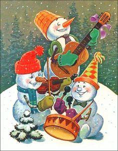 Christmas -  Jolly Snowmen   -  Vintage Image. , via Etsy.
