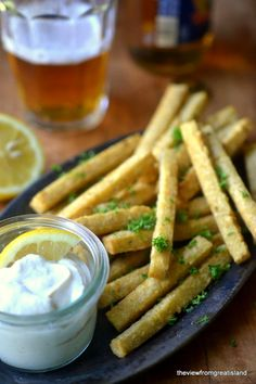 Chickpea Fries with Yogurt Tahini Dip - The View from Great Island #chickpea #garbanzo #cici #chana #gramflour #besan #glutenfree #grainfree #panisse