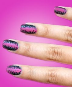 """Beauty & the Beat: Nail Art Designs Inspired by the VMA Nominations - """"ANIMALS"""" - Get animalistic with Sally Hansen's Nail Polish in Back to the Fuchsia, Black and Blue, and black nail art pen. #SallyHansen #InStyle"""